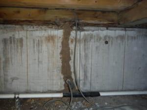 シロアリ被害事例のベタ基礎の蟻道