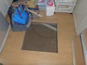 床下収納庫から羽蟻調査